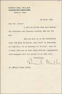 PERCIVAL WILDE - TYPED LETTER SIGNED 04/28/1923