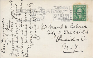 BASIL KING - AUTOGRAPH NOTE ON PICTURE POSTCARD SIGNED 09/27/1921