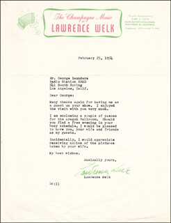 LAWRENCE WELK - TYPED LETTER SIGNED 02/25/1954
