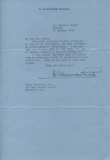 MAJOR E. ALEXANDER POWELL - TYPED LETTER SIGNED 01/26/1939