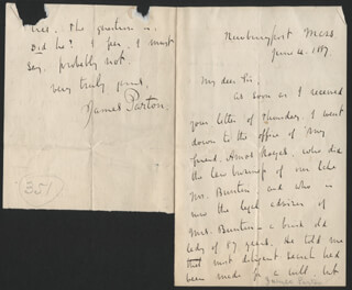 JAMES PARTON - AUTOGRAPH LETTER SIGNED 06/04/1887