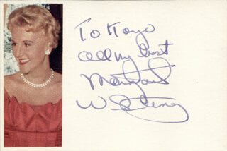 MARGARET WHITING - INSCRIBED SIGNATURE