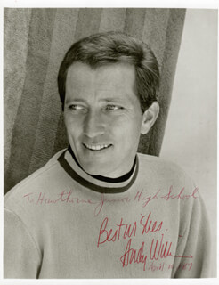 ANDY WILLIAMS - AUTOGRAPHED INSCRIBED PHOTOGRAPH 04/10/1967