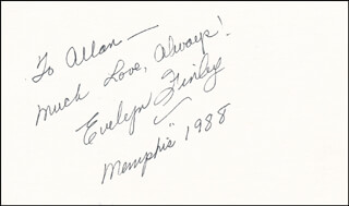 EVELYN FINLEY - AUTOGRAPH NOTE SIGNED 1988