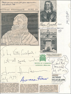 LADY ANTONIA FRASER - AUTOGRAPH 07/06/1973 CO-SIGNED BY: NICOLAS BENTLEY, SIR HUGH FRASER