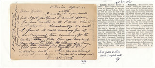 ISRAEL ZANGWILL - AUTOGRAPH LETTER SIGNED 04/22