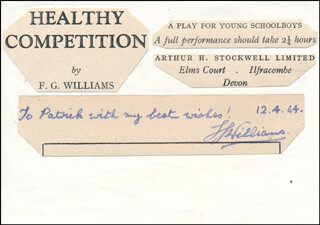 F.G. WILLIAMS - AUTOGRAPH NOTE SIGNED 04/12/1964