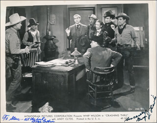 CRASHING THRU MOVIE CAST - INSCRIBED PRINTED PHOTOGRAPH SIGNED IN INK CO-SIGNED BY: TRIS COFFIN, GEORGE J. LEWIS