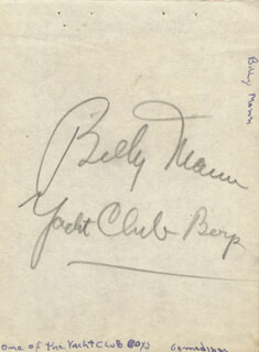 THE YACHT CLUB BOYS (BILLY MANN) - AUTOGRAPH
