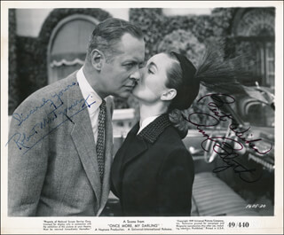 ONCE MORE, MY DARLING MOVIE CAST - PRINTED PHOTOGRAPH SIGNED IN INK CO-SIGNED BY: ANN BLYTH, ROBERT MONTGOMERY