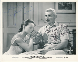 THE TATTERED DRESS MOVIE CAST - PRINTED PHOTOGRAPH SIGNED IN INK CO-SIGNED BY: JEANNE CRAIN, JEFF CHANDLER