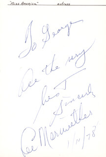 LEE MERIWETHER - AUTOGRAPH NOTE SIGNED 01/11/1978