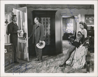 HELLFIRE MOVIE CAST - AUTOGRAPHED SIGNED PHOTOGRAPH CO-SIGNED BY: BILL WILD BILL ELLIOTT, MARIE WINDSOR, FORREST TUCKER