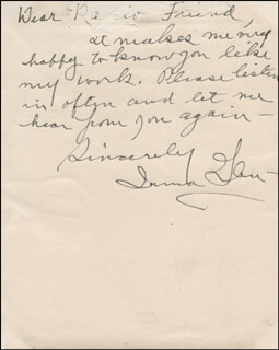 Autographs: IRMA GLEN - AUTOGRAPH NOTE ON PHOTOGRAPH SIGNED
