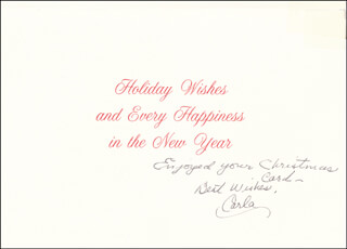 CARLA LAEMMLE - CHRISTMAS / HOLIDAY CARD SIGNED
