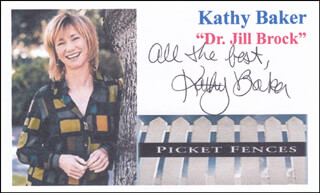 KATHY BAKER - PRINTED CARD SIGNED IN INK