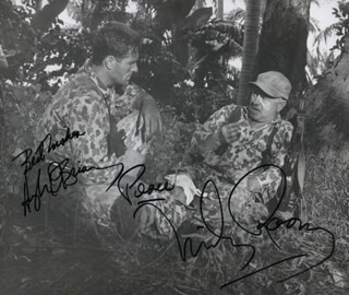 Autographs: AMBUSH BAY MOVIE CAST - PHOTOGRAPH SIGNED CO-SIGNED BY: HUGH O'BRIAN, MICKEY ROONEY
