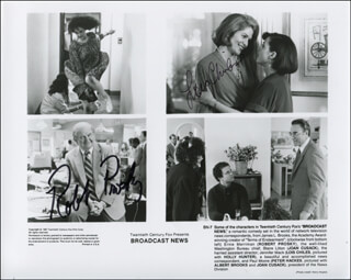 BROADCAST NEWS MOVIE CAST - PRINTED PHOTOGRAPH SIGNED IN INK CO-SIGNED BY: ROBERT PROSKY, LOIS CHILES