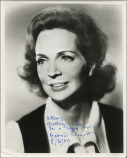 BEATRICE STRAIGHT - AUTOGRAPHED INSCRIBED PHOTOGRAPH 08/30/1989