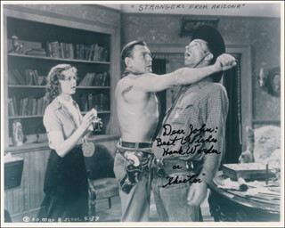 HANK WORDEN - AUTOGRAPH NOTE ON PRINTED PHOTOGRAPH SIGNED IN INK