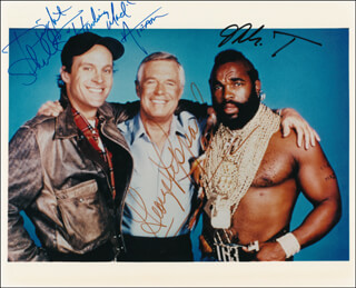 THE A-TEAM TV CAST - AUTOGRAPHED SIGNED PHOTOGRAPH CO-SIGNED BY: MR. T, GEORGE PEPPARD, DWIGHT SCHULTZ