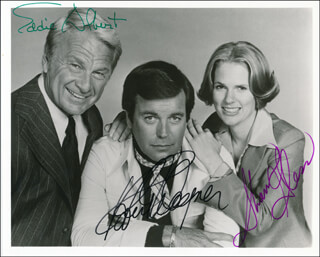 SWITCH TV CAST - AUTOGRAPHED SIGNED PHOTOGRAPH CO-SIGNED BY: EDDIE ALBERT, ROBERT J. WAGNER, SHARON GLESS