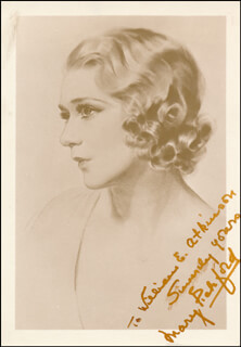 MARY PICKFORD - INSCRIBED ILLUSTRATION SIGNED