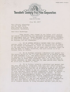 DOROTHY DANDRIDGE - DOCUMENT SIGNED 07/26/1957 CO-SIGNED BY: LEW SCHREIBER
