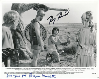 CLASH OF THE TITANS MOVIE CAST - PRINTED PHOTOGRAPH SIGNED IN INK CO-SIGNED BY: HARRY HAMLIN, BURGESS MEREDITH