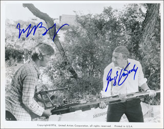 THUNDERBOLT AND LIGHTFOOT MOVIE CAST - PRINTED PHOTOGRAPH SIGNED IN INK CO-SIGNED BY: GEORGE KENNEDY, JEFF BRIDGES