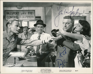 CAST A GIANT SHADOW MOVIE CAST - PRINTED PHOTOGRAPH SIGNED IN INK CO-SIGNED BY: SENTA BERGER, KIRK DOUGLAS