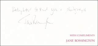 JANE ROSSINGTON - AUTOGRAPH SENTIMENT SIGNED