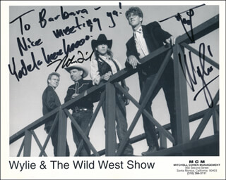 WYLIE & THE WILD WEST - INSCRIBED PRINTED PHOTOGRAPH SIGNED IN INK CO-SIGNED BY: WYLIE & THE WILD WEST (WYLIE GUSTAFSON), WYLIE & THE WILD WEST SHOW (MIKE FRIED)