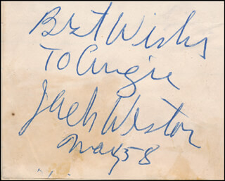 JACK WESTON - AUTOGRAPH NOTE SIGNED 05/1958