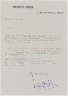 LETITIA DEAN - TYPED LETTER SIGNED