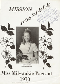Autographs: LYNN DEE (GRENZ) SNODGRASS - INSCRIBED PROGRAM SIGNED CIRCA 1970