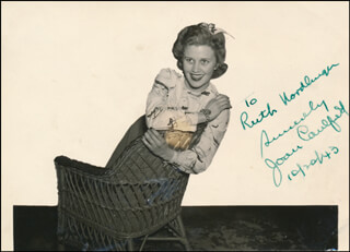 JOAN CAULFIELD - AUTOGRAPHED INSCRIBED PHOTOGRAPH 10/20/1943
