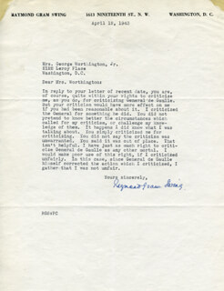 RAYMOND GRAM SWING - TYPED LETTER SIGNED 04/12/1943