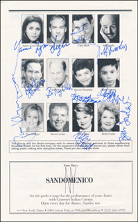 BEAUTY AND THE BEAST PLAY CAST - PROGRAM PAGE SIGNED CO-SIGNED BY: JAMIE-LYNN SIGLER, DAVID DE VRIES, MARY STOUT, BETH FOWLER, JEFF BROOKS, CHRIS HOCH, BILLY VITELLI, JEREMY BERGMAN, ADAM CASNER, PAM KLINGER