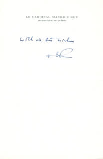 MAURICE CARDINAL ROY - AUTOGRAPH SENTIMENT SIGNED