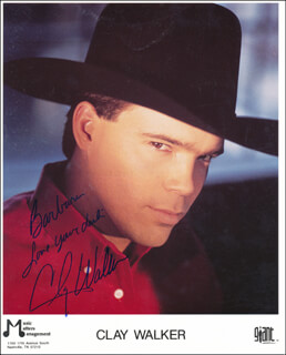 CLAY WALKER - INSCRIBED PRINTED PHOTOGRAPH SIGNED IN INK
