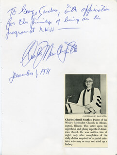 Autographs: CHARLES MERRILL SMITH - AUTOGRAPH NOTE SIGNED 12/01/1971