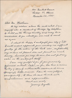 JEREMY (MILDRED DODGE) INGALLS - AUTOGRAPH LETTER SIGNED 11/26/1945