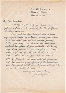 JEREMY (MILDRED DODGE) INGALLS - AUTOGRAPH LETTER SIGNED 12/02/1945