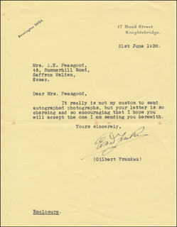 GILBERT FRANKAU - TYPED LETTER SIGNED 06/21/1938