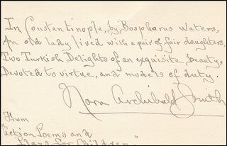 NORA ARCHIBALD SMITH - AUTOGRAPH QUOTATION SIGNED