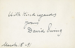 Autographs: DAVID SWING - AUTOGRAPH SENTIMENT SIGNED 03/15/1891