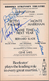 SAME TIME, NEXT YEAR PLAY CAST - SHOW BILL SIGNED CO-SIGNED BY: BETSY PALMER, MONTE MARKHAM, BERNARD SLADE