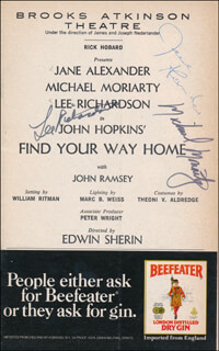 Autographs: FIND YOUR WAY HOME PLAY CAST - SHOW BILL SIGNED CO-SIGNED BY: JANE ALEXANDER, MICHAEL MORIARTY, LEE RICHARDSON