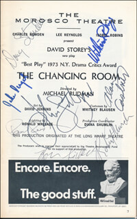THE CHANGING ROOM PLAY CAST - SHOW BILL SIGNED CO-SIGNED BY: JOHN LITHGOW, DOUG STENDER, JAKE DENGEL, ROBERT G. MURCH, WILLIAM RHYS, CHARLES SIEBERT, ALAN CASTNER, PAUL RYAN RUDD